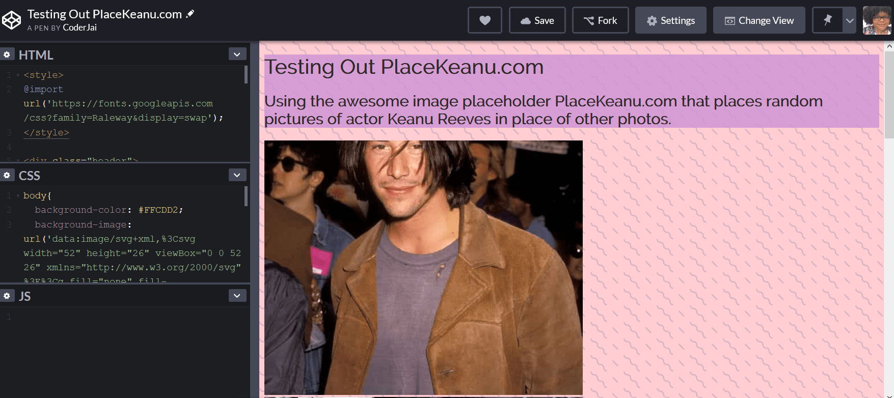 Image of a Codepen using PlaceKeanu.com images
