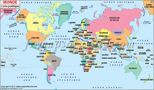 Carte du monde - J'ai Une Ouverture - Tour du Monde