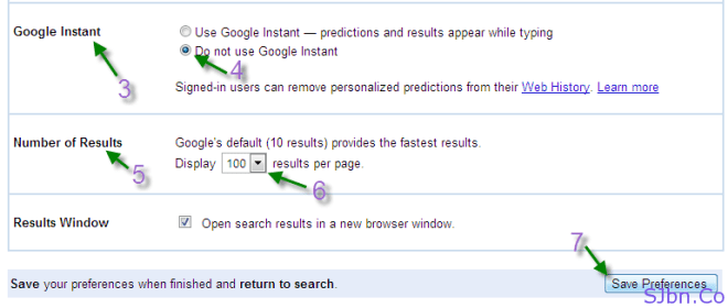 Google Search settings page