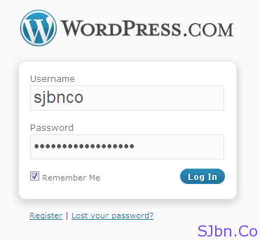 WordPress.COM login page