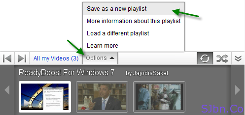 Options -- Save as a new playlist