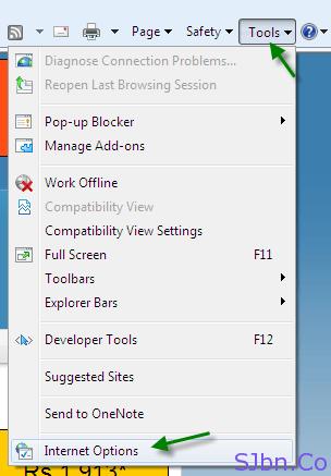 IE - Tools -- Internet Options