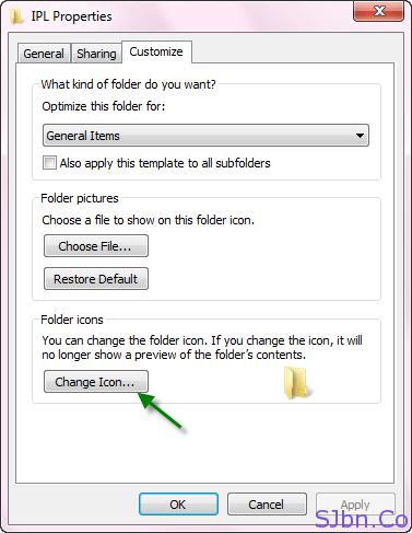 Properties -- Customize -- Change icon