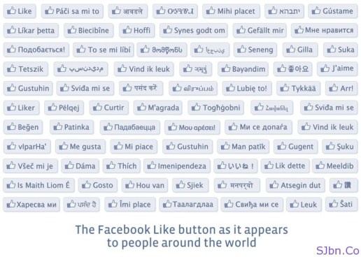 The Facebook Like Button As It Appears To People Around The World