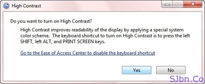 Do you want to turn on High Contrast -- Yes