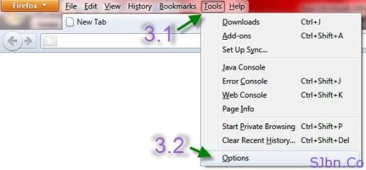 Firefox - Tool -- Options...