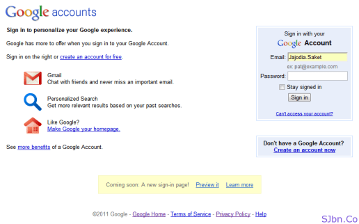 Gmail Old Login Page