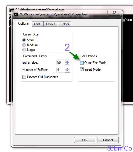 CMD Properties - QuickEdit Mode
