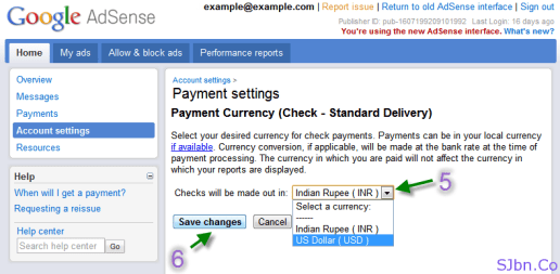 Payment settings - Payment Currency (Check - Standard Delivery)