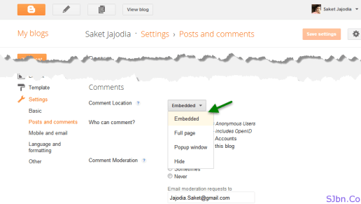 Settings - Posts and comments - Comment Location - Embedded