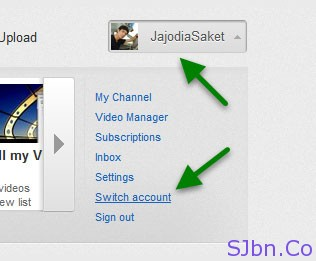 YouTube - Switch account