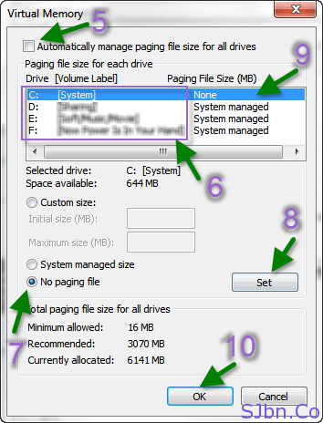 Automatically manage paging file size for all drives - No paging file