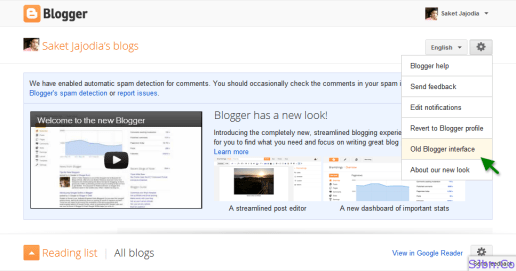 Blogger dashboard - Blogger Options - Old Blogger interface