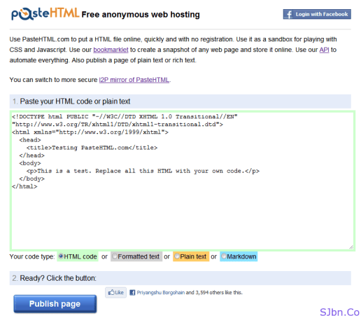 PasteHTML - Free anonymous web hosting