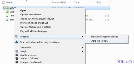 Right-click -- DropBox -- Share this folder…