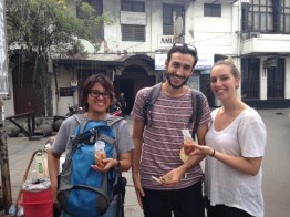 """One of the perks of doing a walking tour is...you get to try the local street food! Ayus, Yael, and Ana tried our famous """"tahu gejrot"""", it's fried tofu dipped in sour sauce."""