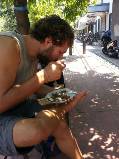 One of the perks of a walking tour is... you get to taste the local street food! Just like Ben did.