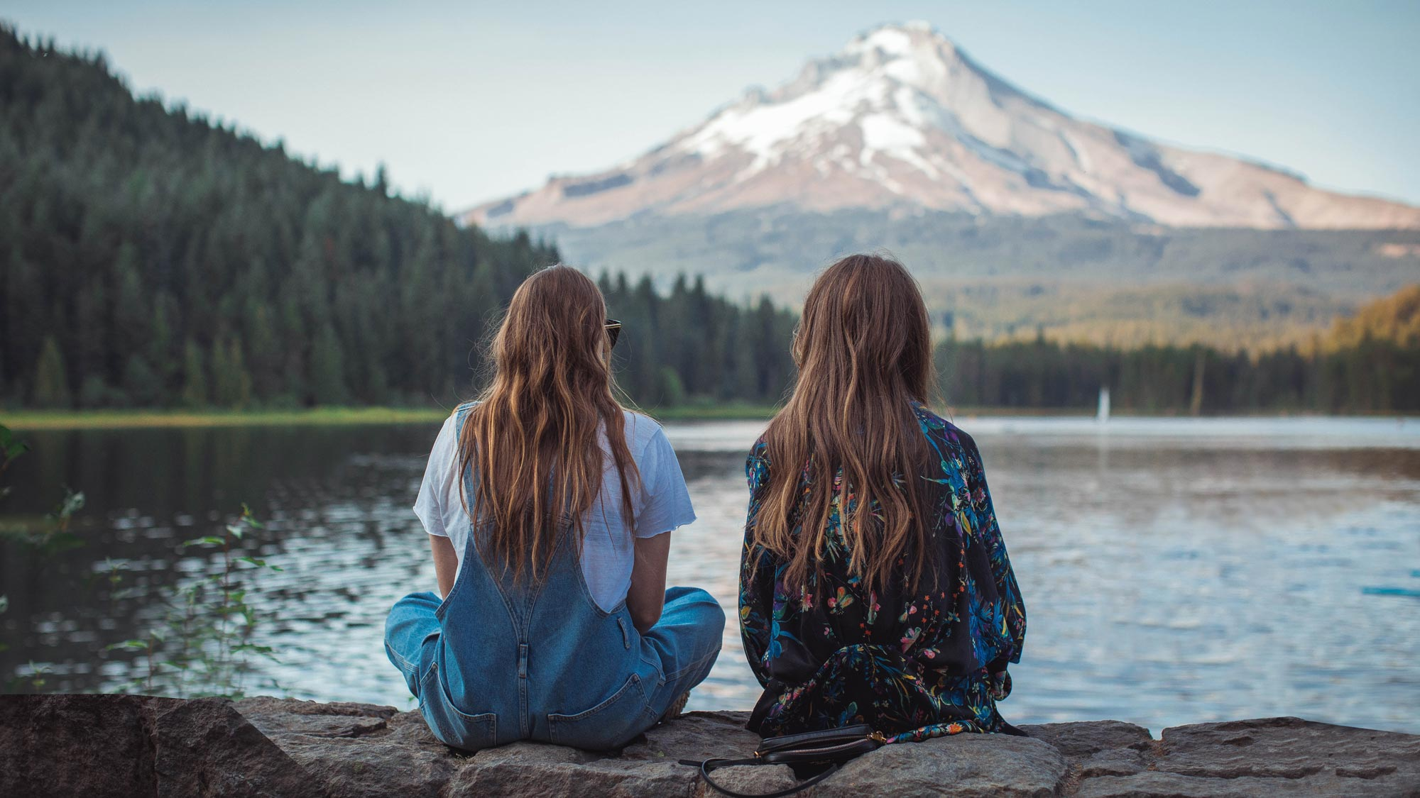 Two friends contemplate the awe that is Mt. Hood