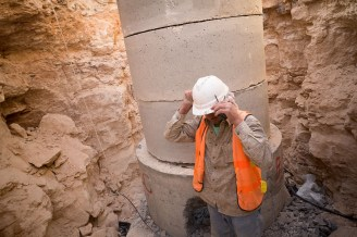 Urban waterline construction in Zarqa, Jordan.