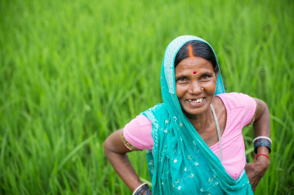 A small farmer stands in her rice field in Bihar, India.