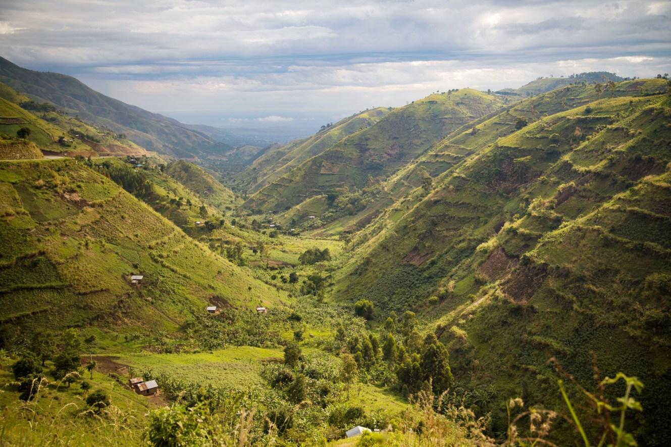 Rwenzori Mountains scenery in Bundibugyo District, Uganda.