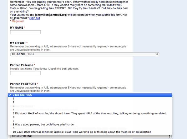 Partner Grade Google Form