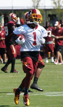 Wide receiver DeSean Jackson runs after a catch. Photo by Jake Russell.