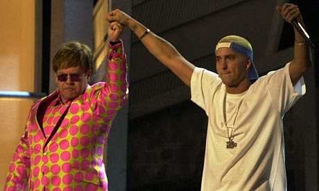 Elton John and Eminem after performing at the 2001 Grammy Awards. (Photo property of the Associated Press' Kevork Djansezian)
