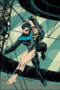 Nightwing and Batgirl's relationship remains one of DC Comics' fan favorite relationships.  (Artwork by Greg Land & Brian Stelfreeze; Property of DC Comics)