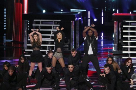 "Jacquie Lee and Matthew Scuhler teamed up with their divalicious mentor to pay homage to Michael and Janet Jackson on ""The Voice."" (Photo property of NBC's Tyler Golden)"