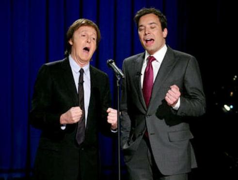 "Sir Paul McCartney and Jimmy Fallon delivered a delightful parody of ""Yesterday."" (Photo property of NBC's Lloyd Bishop)"