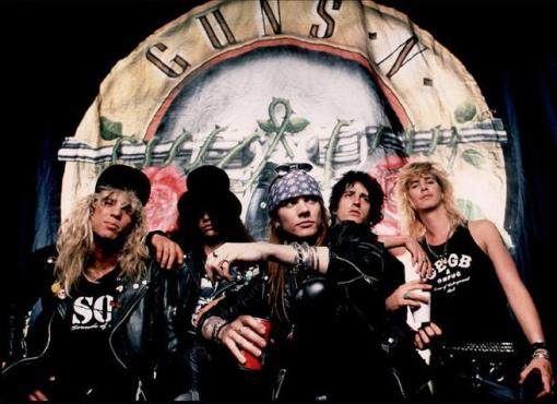 "Guns N' Roses' signature song: ""Sweet Child O' Mine"" is a fantastic lifting song. (Photo property of Geffen Records)"
