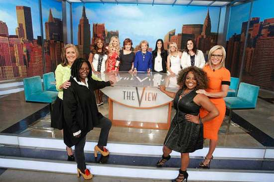 "All past and present ""The View"" co-hosts pose together on Barbara Walters' second-to-last episode of ""The View."" (Photo property of ABC's Lou Rocco)"