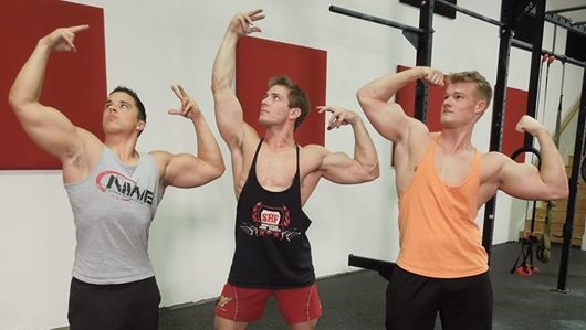 Olympus Iron's social media channels have expanded thanks to collaborations with YouTube fitness giants Scott Herman (middle) and Nick Wright (left).  (Photo courtesy of Olympus Iron)