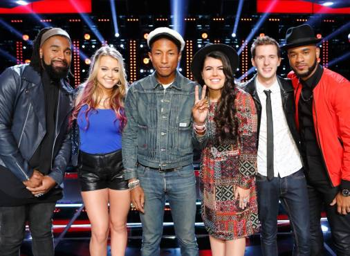 "Last season's winning coach ""Got Lucky"" with these artists who impressed me tonight on ""The Voice."" (Photo property of NBC & United Artists Media Group)"