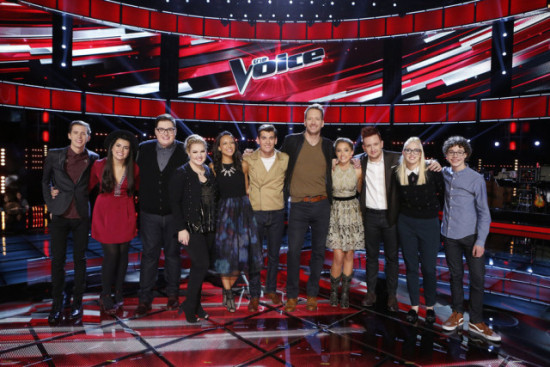 "The Top 11 pose for a group photo after a taping of ""The Voice."" (Photo property of NBC's Trae Patton)"