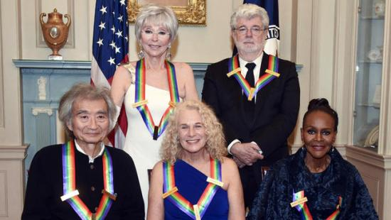 Seiji Ozawa, Carole King, Cicely Tyson, George Lucas and Rita Moreno pose for a photo before the 2015 Kennedy Center Honors. (Photo property of the Associated Press' Kevin Wolf)