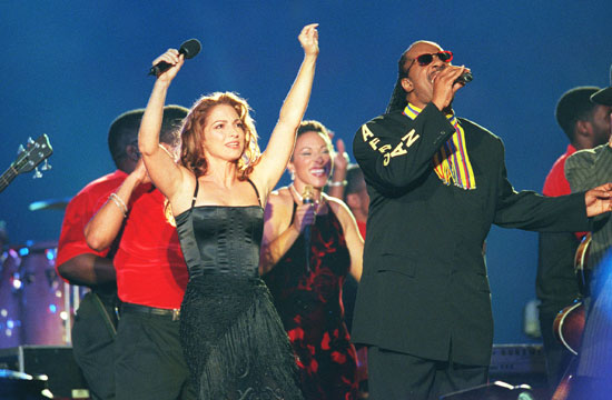 Music legends Gloria Estefan and Stevie Wonder fused salsa and soul together for one epic Super Bowl Halftime Show. (Photo property of Getty Images)