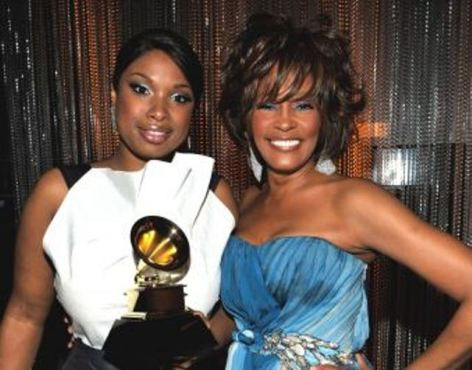 Jennifer Hudson posed with her idol, Whitney Houston, after the iconic megastar awarded the Oscar winner---her first Grammy. (Photo property of Getty Images)