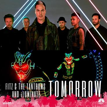 """Fitz & The Tantrums joined """"AGT: Season Six"""" alums iLuminate on the Dolby Theatre stage. (Photo property of NBC)"""