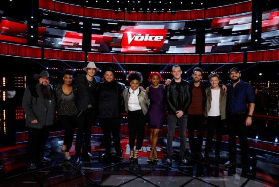 """The Voice: Season 11"" Top 10 pose together after a taping of the show. (Photo property of NBC's Trae Patton)"