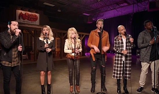 "Pentatonix and Dolly Parton visited ""The Voice"" to celebrate the holiday season. (Photo property of RCA Records)"