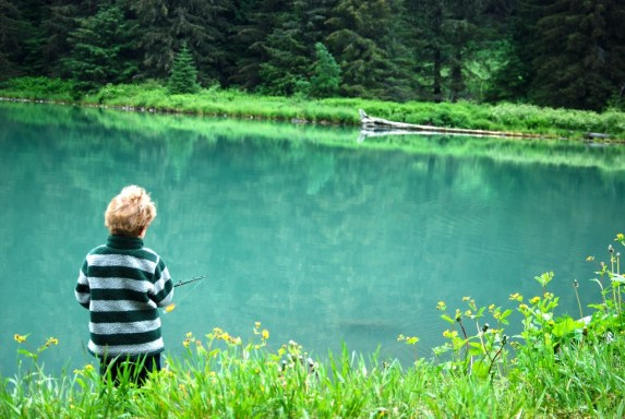 fishing, lake, boy, kid