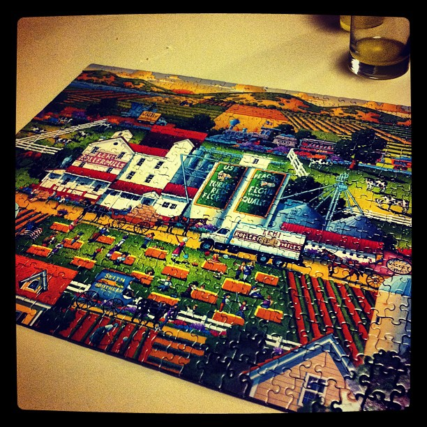 Puzzle is finished, all 500 pieces. I'd love to take credit for it, but Melissa went a little OCD on it. I put the kids to bed... :)