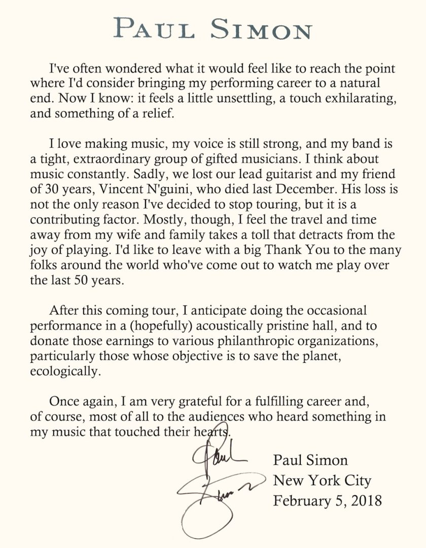 RT @PaulSimonMusic: A message from…