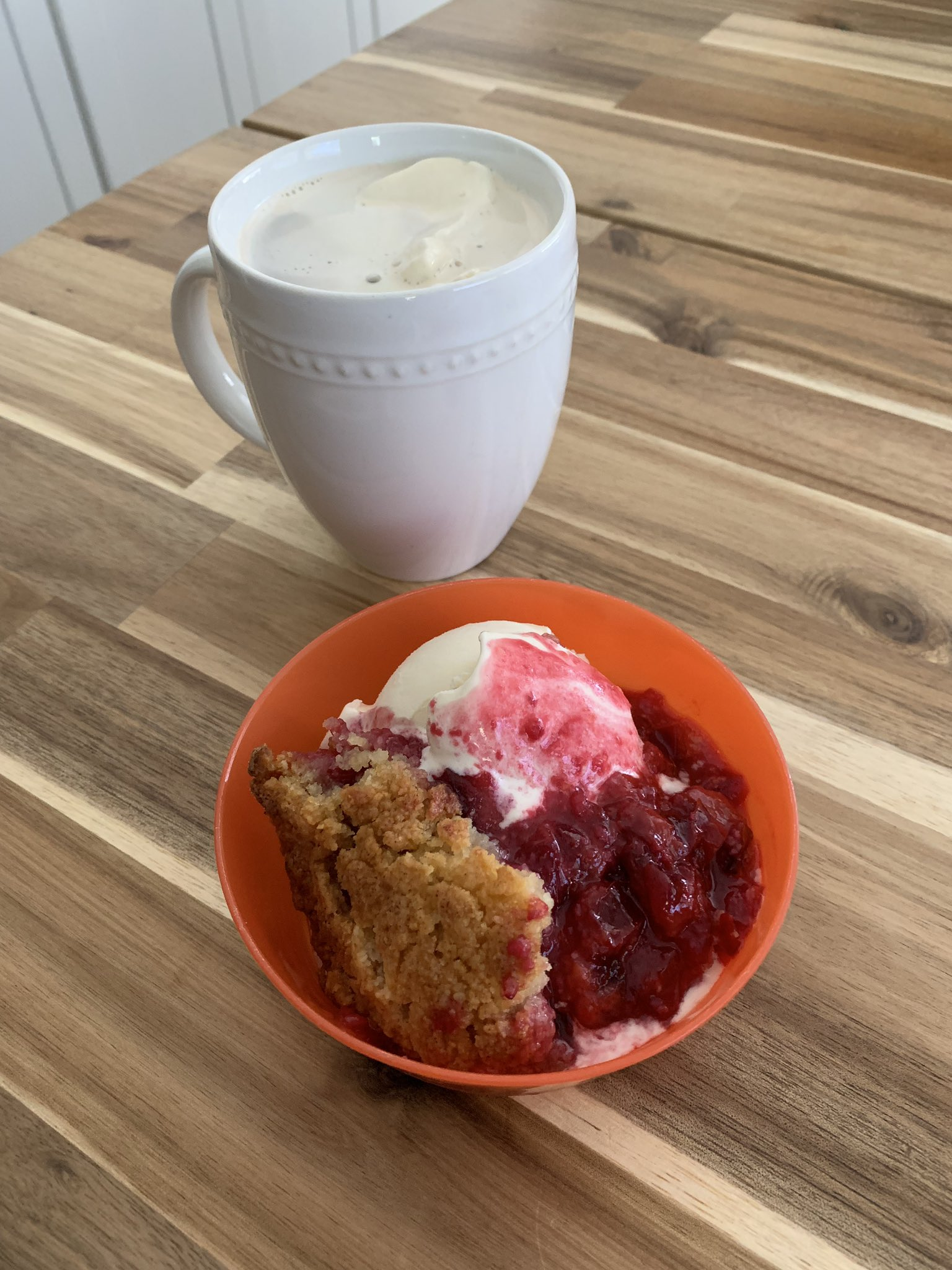 It's plum cobbler and affogato…