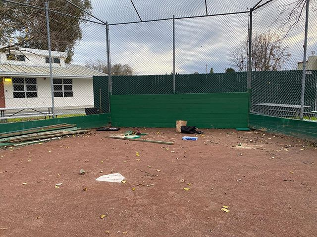 New backstop! Wings are the next project for the minors field...