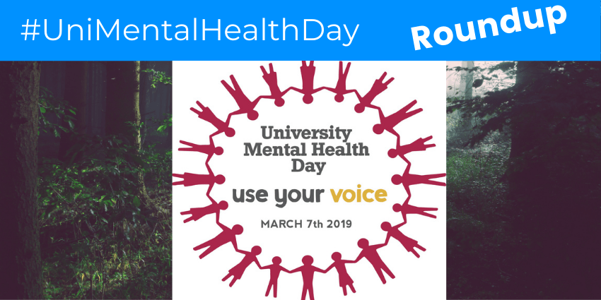Red Circle of Stick People Enclosing Text: University Mental Health Day. Use Your Voice. March 7th 2019.