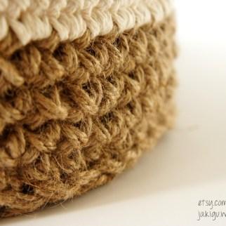 Round Jute and Cotton Stacking Baskets | jakigu.com crochet pattern