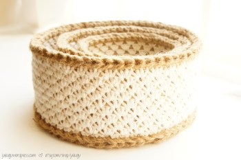 Jute and Cotton Basket Set | jakigu.com crochet pattern